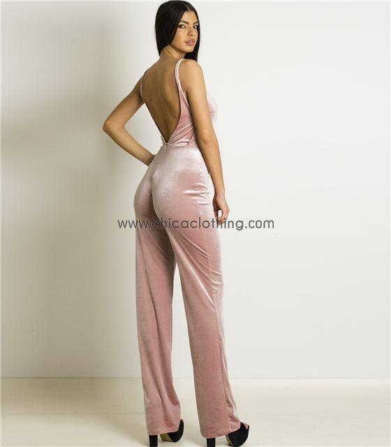 Ολόσωμη φόρμα τιράντα βελούδο Ροζ