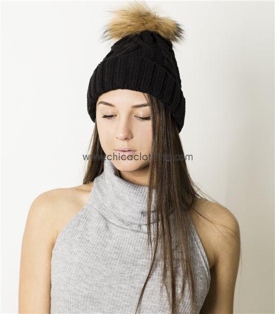 Πλεκτό σκουφάκι με γούνινο μπεζ πον πον (Μαύρο)