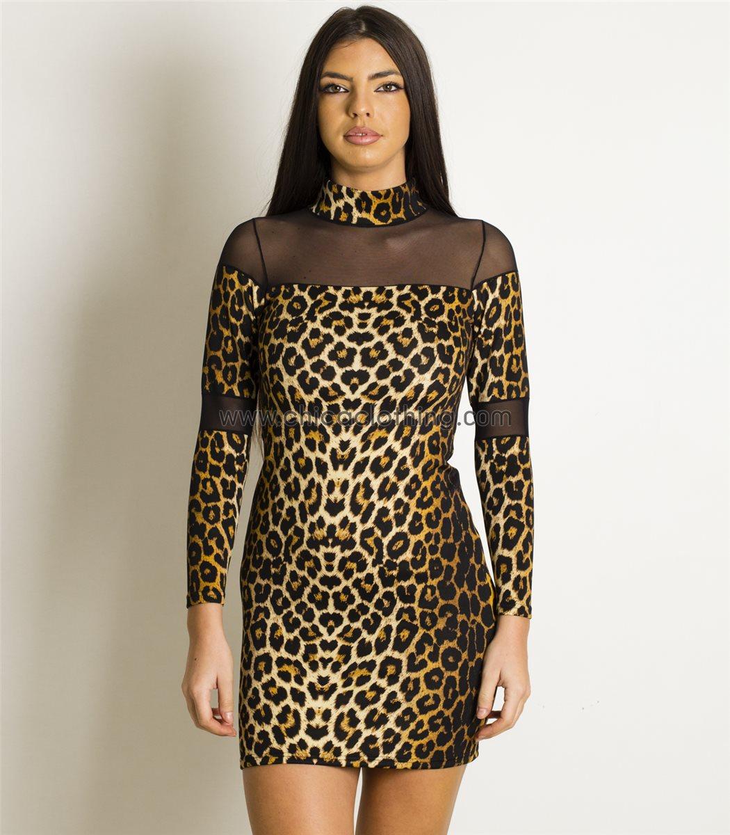 e6793fafb2be Γυναικείο φόρεμα με λωρίδες διαφάνεια (Λεοπάρ)