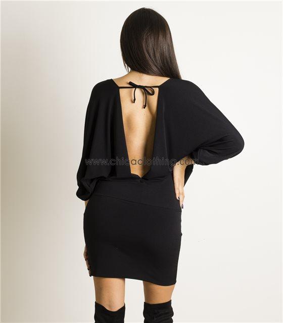Μαύρο φόρεμα ντραπέ με δέσιμο στην πλάτη