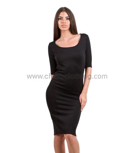 Φόρεμα μαύρο midi σε στενή γραμμή