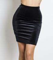 Μαύρη φούστα ελαστική βελούδινη