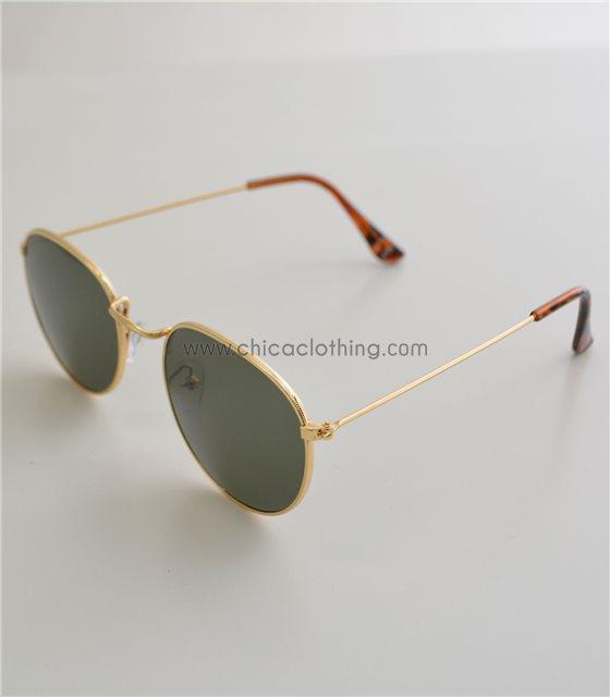 Γυαλιά ηλίου με χρυσό σκελετό και πράσινο φακό