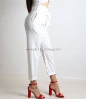 Ψηλόμεσο παντελόνι με ζώνη (Λευκό)