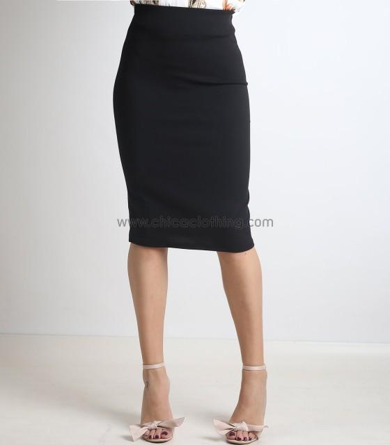 Μαύρη φούστα midi με λάστιχο στην μέση