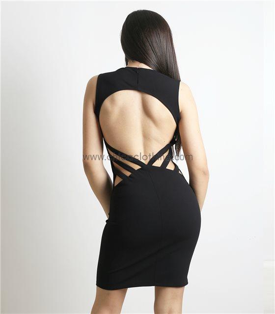 Έφαρμοστό αμάνικο φόρεμα με ανοιχτή πλάτη (Μαύρο)
