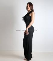 Ολόσωμη φόρμα με δαντέλα και δέσιμο στην πλάτη (Μαύρο)