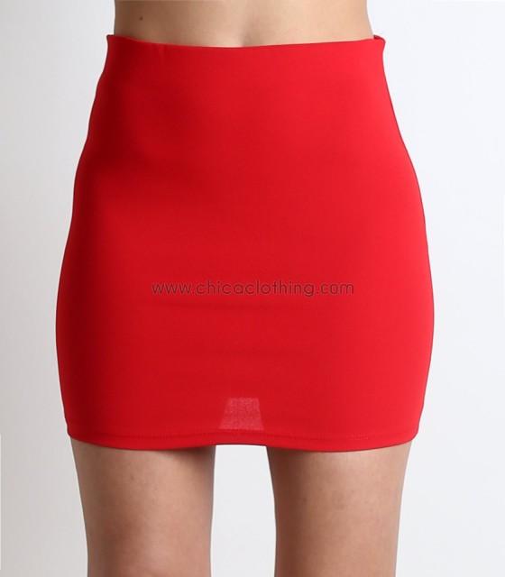 Μίνι φούστα με λάστιχο στην μέση (Κόκκινο)
