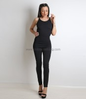 Ολόσωμη φόρμα με κρυφό φερμουάρ και χιαστή (Μαύρο)