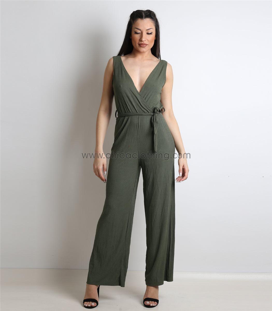 Γυναικεία ολόσωμη φόρμα κρουαζέ ελαστική (Χακί) bff673da86c