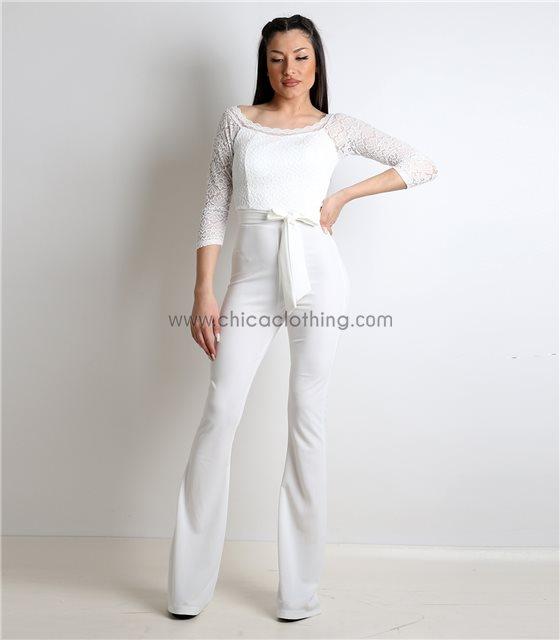 Ολόσωμη φόρμα με δαντέλα και ενσωματωμένη ζώνη (Λευκό)