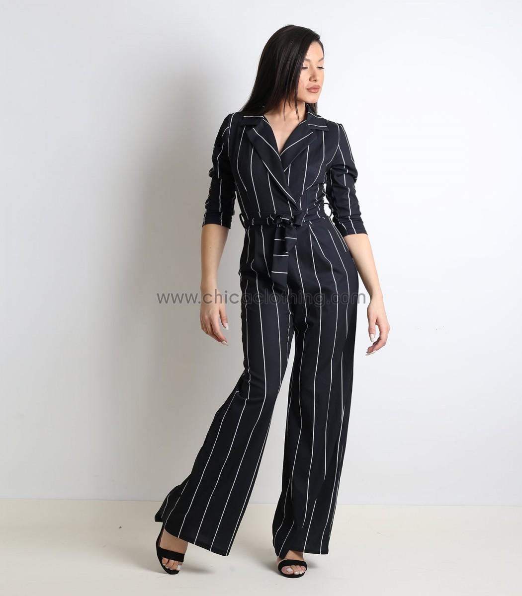 906420e20a1 Γυναικεία ολόσωμη φόρμα ριγέ με γιακά και ζώνη (Μαύρο)