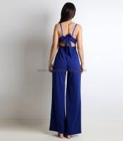 Ολόσωμη φόρμα με επένδυση και τιράντες (Μπλε)