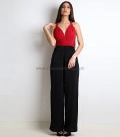 Πολυμορφική μαύρη ολόσωμη φόρμα με κόκκινο τοπ