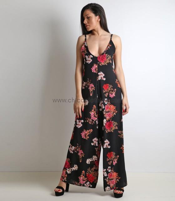 Ολόσωμη φόρμα φλοράλ με ρυθμιζόμενες τιράντες (Μαύρο)
