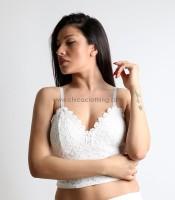 Τοπ δαντέλα με επένδυση και χρυσό φερμουάρ (Λευκό)