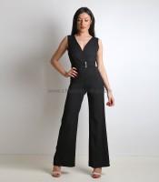 Ολόσωμη φόρμα κρουαζέ με ζώνη και κουμπί στο πίσω μέρος (Μαύρο)