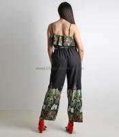 Ολόσωμη φόρμα φλοράλ με ζώνη και τιράντες (Μαύρο)