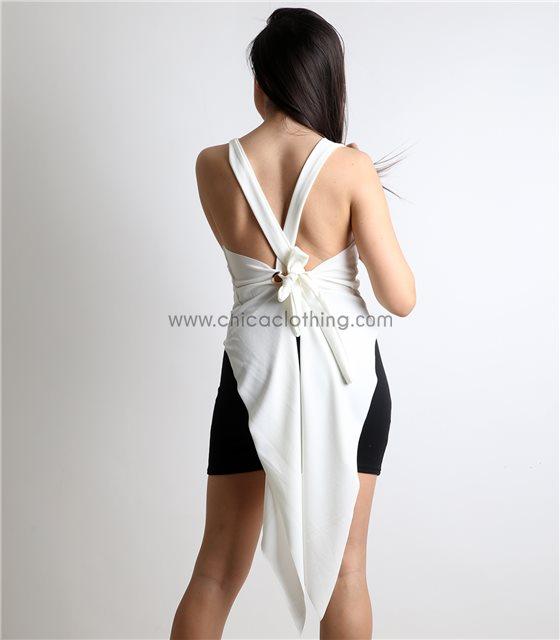 Λευκή μπλούζα με δέσιμο και ουρά