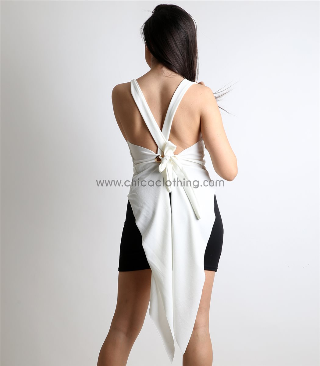 144a83edae2c Γυναικεία λευκή μπλούζα με δέσιμο και ουρά
