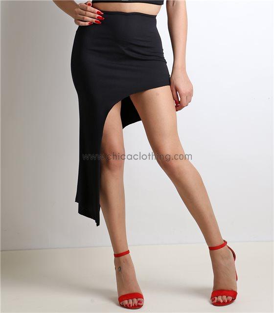 Φούστα ασύμμετρη με λάστιχο (Μαύρο)