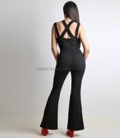 Ολόσωμη φόρμα με επένδυση και χιαστή (Μαύρο)
