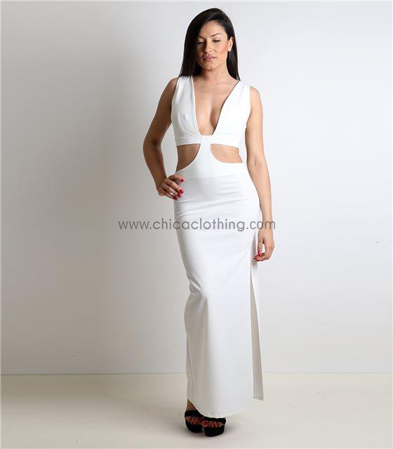 Λευκό φόρεμα με ανοίγματα