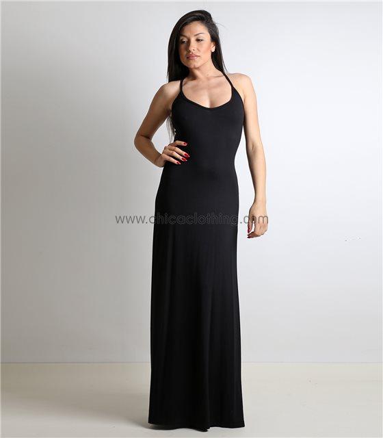 Μάξι φόρεμα με δέσιμο στην πλάτη και άνοιγμα στο πλάι Μαύρο