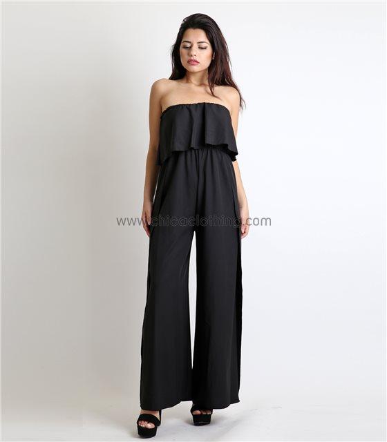 Ολόσωμη φόρμα στράπλες με άνοιγμα (Μαύρο)