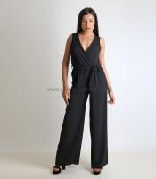 Ολόσωμη φόρμα κρουαζέ με ζώνη (Μαύρο)