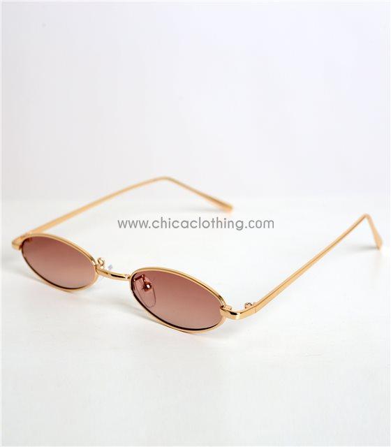 Γατίσια γυαλιά ηλίου με καφέ φακό και χρυσό σκελετό