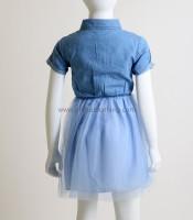 Φόρεμα τζιν με μπλε τούλι