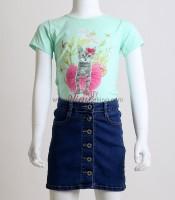Παιδική κοντομάνικη μπλούζα με σχέδιο γατάκι (Βεραμάν)