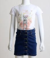 Παιδική κοντομάνικη μπλούζα με σχέδιο γατάκι (Λευκό)
