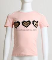 Παιδική κοντομάνικη μπλούζα με καρδούλες (Σομόν)