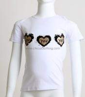 Παιδική κοντομάνικη μπλούζα με καρδούλες (Λευκό)