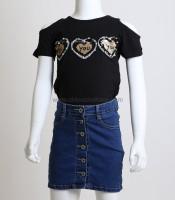 Παιδική κοντομάνικη μπλούζα με καρδούλες (Μαύρο)