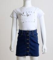 Παιδική κοντομάνικη μπλούζα με πέρλες (Λευκό)