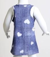 Βρεφικό τζιν φόρεμα με φιογκάκι παγιέτα ροζ