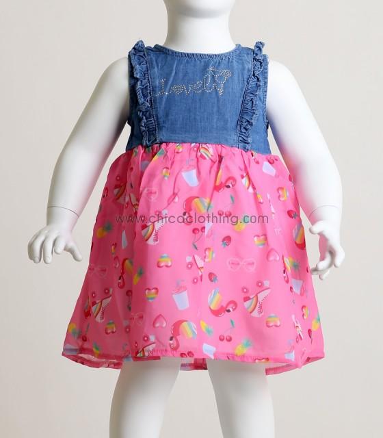 Βρεφικό φόρεμα με κρυφό φερμουάρ στο πίσω μέρος (Ροζ)