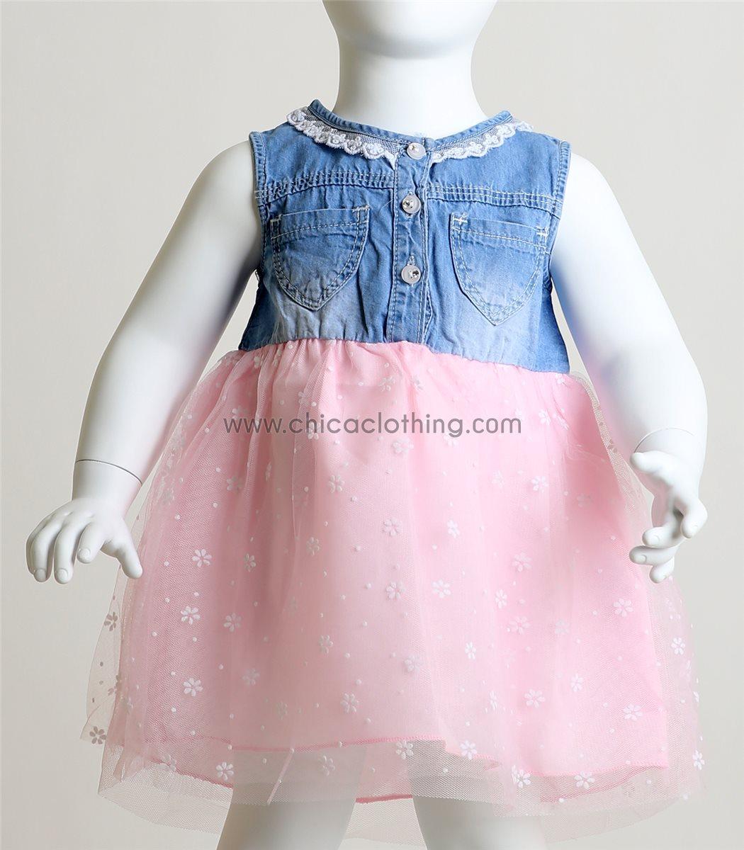 78263d1d6842 Βρεφικό φόρεμα με σχέδιο μαργαρίτες (Ροζ)