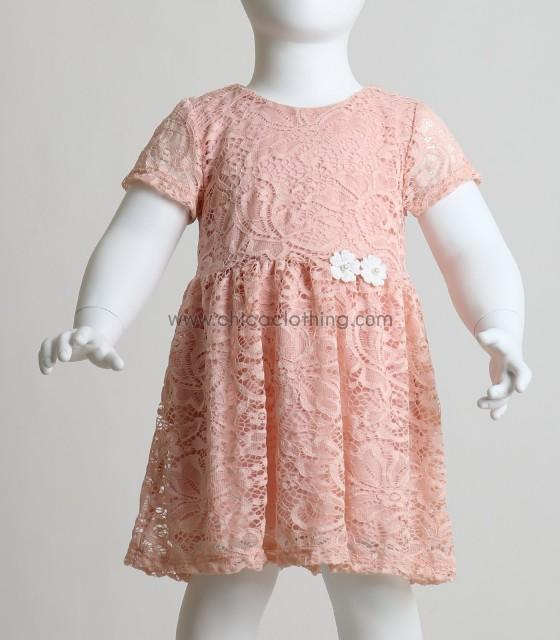Βρεφικό ροζ δαντελένιο φόρεμα με φόδρα και λουλούδια