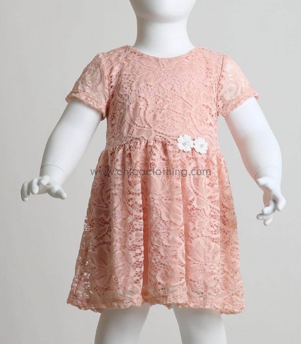 ed96718a5452 Βρεφικό ροζ δαντελένιο φόρεμα με φόδρα και λουλούδια
