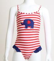 Παιδικό ολόσωμο μαγιό με σχέδιο ελεφαντάκι και φραμπαλά (Κόκκινο)