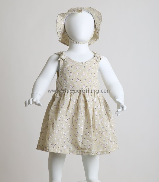 Βρεφικό φόρεμα φλοράλ με καπελάκι (Μπεζ)
