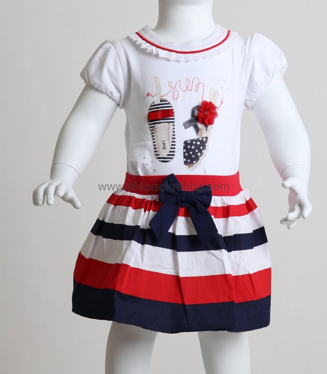 9a19dfcbfdc1 Βρεφικό σετ μπλούζα - φούστα με σχέδιο παπουτσάκια (Λευκό)