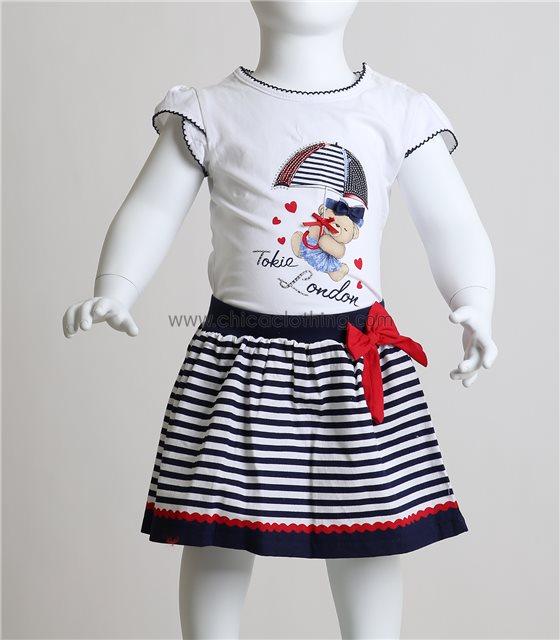 Βρεφικό σετ μπλούζα - φούστα με σχέδιο αρκουδάκι (Σκούρο μπλε)