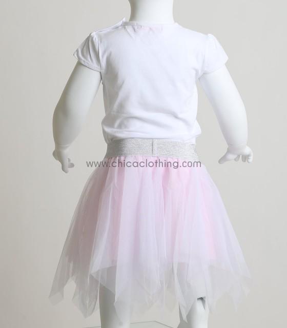 Βρεφικό σετ μπλούζα - φούστα τούλι με πέρλες (Ροζ)