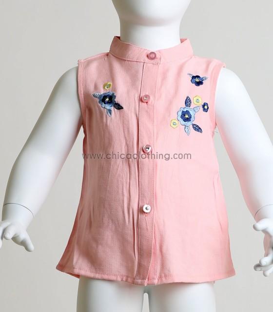 Παιδικό σετ πουκάμισο - τζιν σορτς με κεντητά λουλούδια