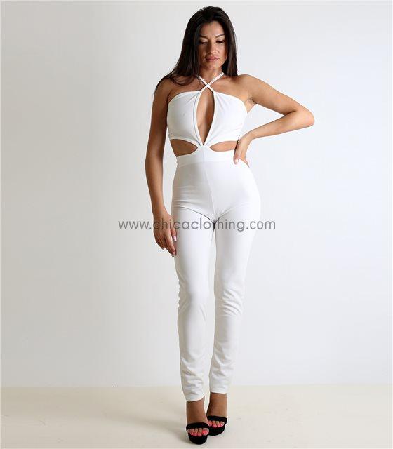 Ολόσωμη φόρμα με κοψίματα και ανοιχτή πλάτη (Λευκή)